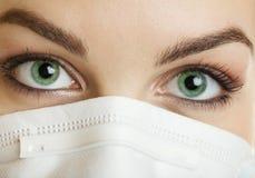 Olhos verdes da enfermeira fotografia de stock