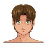 Olhos verdes do cabelo do marrom do menino do anime do manga da cara do retrato Imagem de Stock