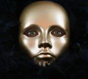 Olhos verdes e máscara do ouro Fotografia de Stock