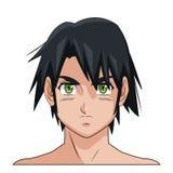 Olhos verdes masculinos de cabelo preto do anime do manga da cara do retrato Foto de Stock Royalty Free