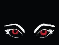 Olhos vermelhos assustadores que olham acima no Copyspace Imagem de Stock