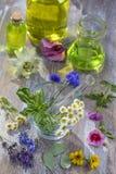 Oli essenziali per il trattamento di aromaterapia con le erbe fresche nel fondo di bianco del mortaio Fotografie Stock