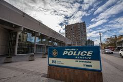 Olice Station of Toronto Police Service, 52 division, on Dundas street. TORONTO, CANADA - NOVEMBER 13, 2018: P It is the municipal police force of Toronto stock image