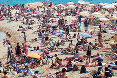 Olidaymakers sunbathe on  beach  in Barcelona Stock Images
