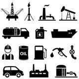Olie, aardolie en benzinepictogrammen Royalty-vrije Stock Foto's