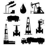 Olie en aardoliepictogramreeks. Stock Foto