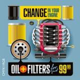 Olie en Filtersverandering Stock Afbeeldingen