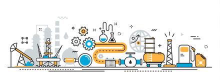 Olie en gas de banner van de het proceswebsite van de productieindustrie stock illustratie