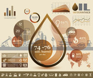 Olie en gas de industrieinfographics Stock Foto's