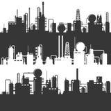 Olie en Gas het Silhouet van de Raffinaderijelektrische centrale Vectorpatroonreeks vector illustratie