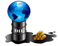 Olie en goud en aarde Stock Fotografie