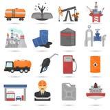 Olie en gus de vlakke geplaatste pictogrammen van de de industriekleur Royalty-vrije Stock Afbeelding