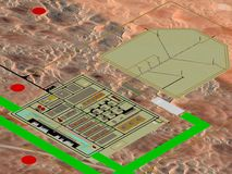 Olie & gasinstallatieproject planning, 3D model planning stock foto