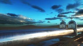 Olie, gasklep Pijpleiding in woestijn Olieconcept het 3d teruggeven Stock Afbeeldingen