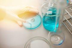 Olie gieten, die het chemische product voor geneeskunde, Laboratoriumonderzoek, het dalen vloeistof aan reageerbuis formuleren royalty-vrije stock afbeeldingen