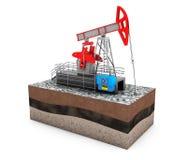 Olie Jack Pump over Grond met Geld Royalty-vrije Stock Afbeeldingen