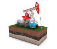 Olie Jack Pump over Grond met Gras Stock Afbeelding