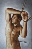 Olie op canvas van de jonge mens Royalty-vrije Stock Foto's