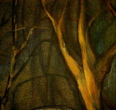 Olie op canvaslandschap, bomen in nachtpark Royalty-vrije Stock Afbeeldingen