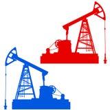 Olie pumpjack De olieindustrie equipment Stock Foto's