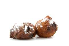 Oliebollen Nederlandse doughnut twee Royalty-vrije Stock Afbeeldingen