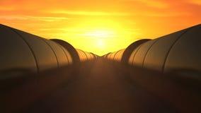 2 olieleidingen tegen zonsondergang, lijn royalty-vrije illustratie