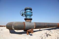 Oliepijpleiding in de woestijn Royalty-vrije Stock Foto