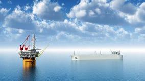 Olieplatform en Supertanker Stock Afbeelding