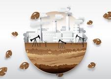 Oliepomp en brandstof met olieraffinaderij Globaal het verwarmen concept royalty-vrije illustratie