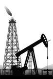 Oliepomp en installatiesilhouet op wit Stock Afbeelding