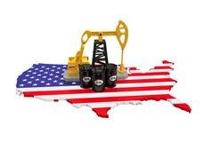 Oliepomp en Olievaten op de Kaart van Verenigde Staten Stock Afbeelding