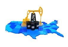 Oliepomp en Olievaten op de Kaart van Verenigde Staten Stock Fotografie