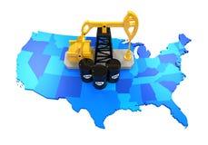 Oliepomp en Olievaten op de Kaart van Verenigde Staten Stock Foto's