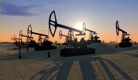 Oliepompen in de woestijn 3D illustratie stock illustratie