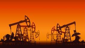 Oliepompen over zonsondergang Royalty-vrije Stock Foto's