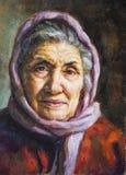 Olieportret van een grootmoeder met haar sjaal Stock Foto