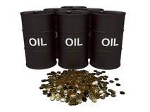 Olieprijs in goud Stock Foto's