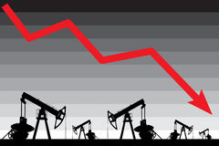 Olieprijscrisis De grafiekillustratie van de olieprijsdaling Royalty-vrije Stock Afbeeldingen