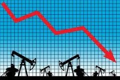 Olieprijscrisis De grafiekillustratie van de olieprijsdaling Royalty-vrije Stock Foto's