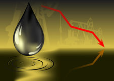 Olieprijsdaling royalty-vrije illustratie