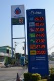 Olieprijzenraad in benzinestation stock fotografie