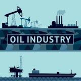 Olieproductie op land en op zee stock illustratie