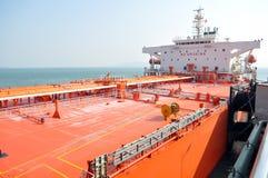 Olietankerschip in haven Stock Fotografie