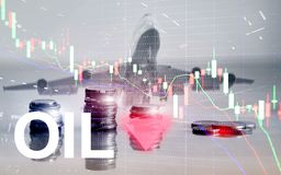 Olietendens neer De grafiekolievaten van de kaarsgrafiek en een financi?le grafiek op abstracte bedrijfsachtergrond prijsolie nee royalty-vrije stock fotografie