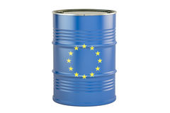 Olievat met vlag van de EU Handelsconcept, het 3D teruggeven Stock Foto