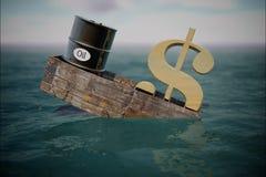Olievat in water prijsolie neer Stock Foto's