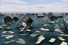 Olievat in water prijsolie neer Stock Afbeeldingen