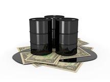 Olievaten op dollarnota's Stock Foto