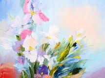 Olieverfschilderij - abstract boeket van kleurrijk de lentebloemen, Stock Afbeeldingen