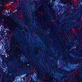 Olieverfschilderij abstracte textuur Mengeling van ruimte blauwe, violette en purpere kleuren Artistieke vierkante achtergrond Royalty-vrije Stock Afbeelding